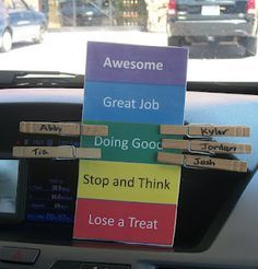 Classroom Freebies Too: Car Behavior Chart Freebie...minus the whole loosing a treat thing, I'd use something else because food shouldn't be a privilege! : )