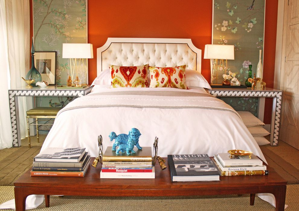 Cherry blossom bedroom wallpaper bedroom eclectic with faux bamboo - feng shui bilder schlafzimmer