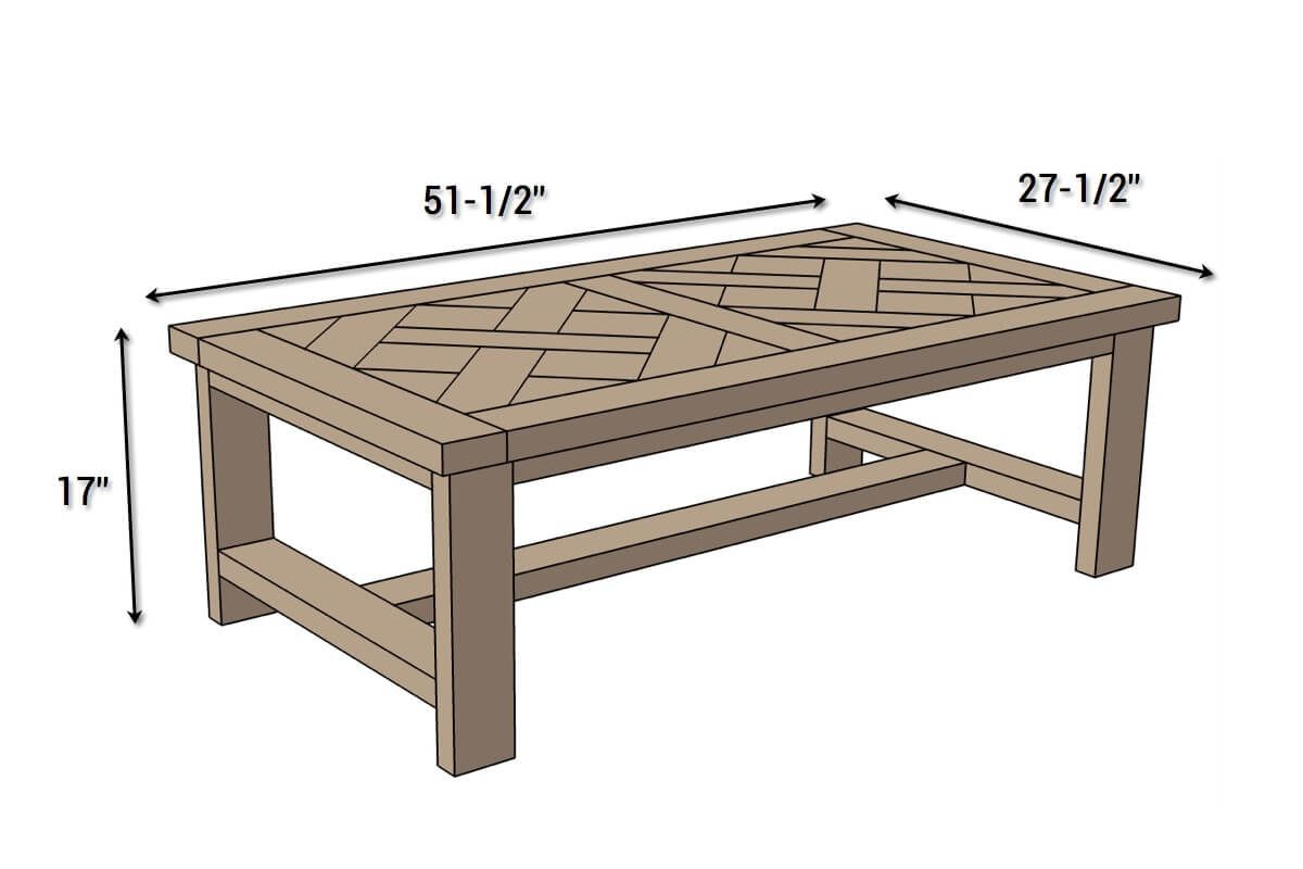 DIY Parquet Coffee Table   Dimensions