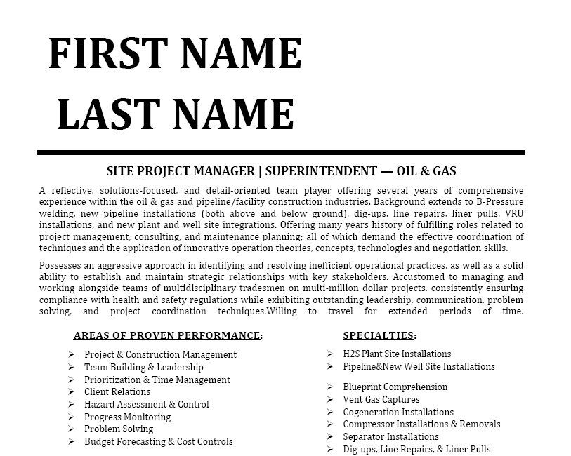Click Here to Download this Site Project Manager Resume Template - construction manager resume template