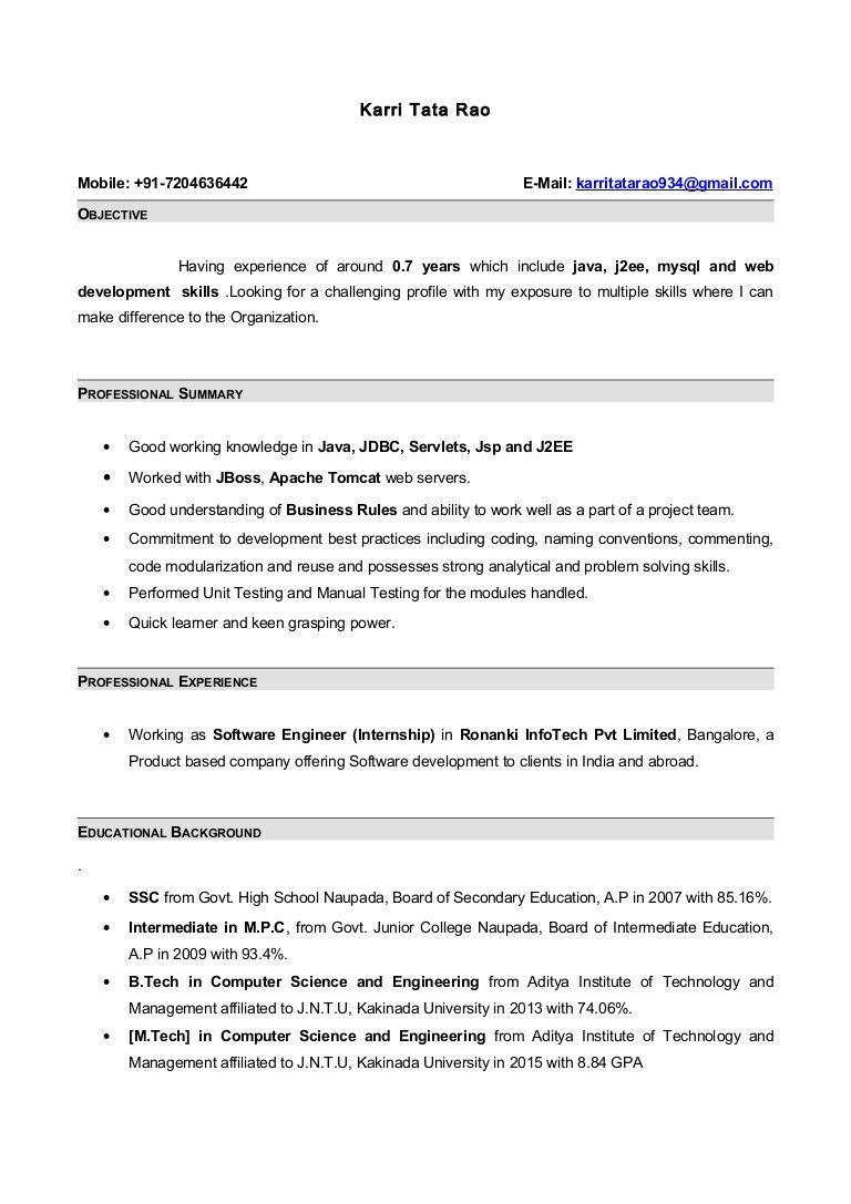 Resume Format For 6 Months Experience In Java Resume Templates Sample Resume Format Internship Resume Resume Format