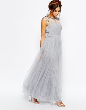 acc45264de53 Little Mistress Ruched Bodice Maxi Dress With Pleated Tulle Skirt ...
