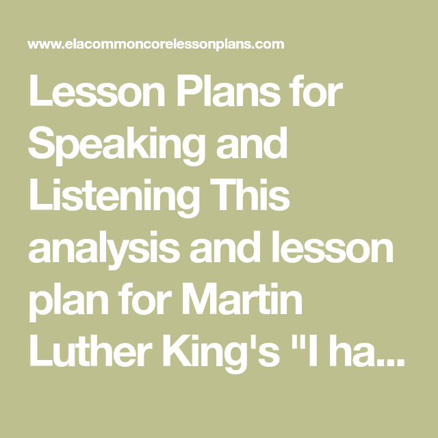 Lesson Plans for Speaking and Listening This analysis and lesson