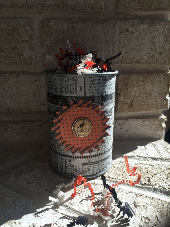Galvanized Tin Can Pencil or Halloween Treat by AFoundDimePaperie