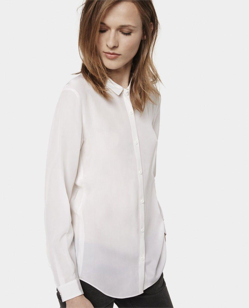 Plain silk boyfriend shirt - Shirts - Woman - The Kooples