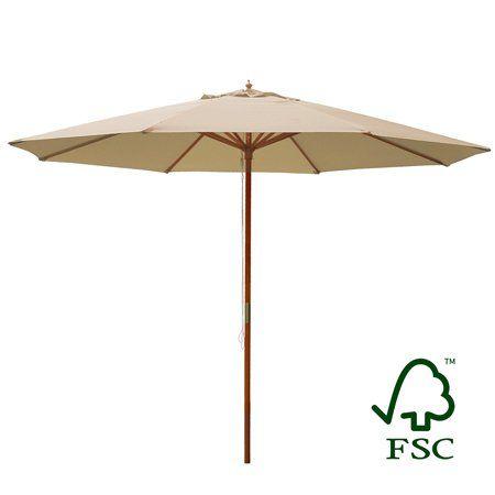 d4f54301f3c9 13′ Ft Sycamore Wood Pole Khaki Beige Patio Market Outdoor Umbrella ...