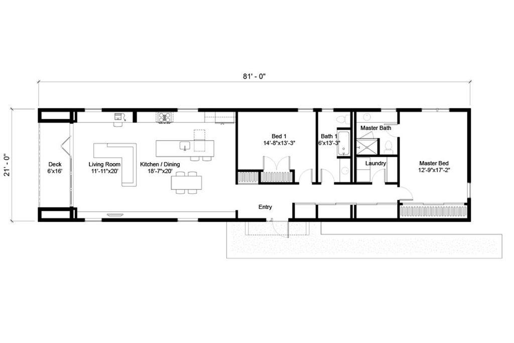 Modern Style House Plan 2 Beds 2 Baths 1575 Sq Ft Plan 497 25 Rectangle House Plans Narrow House Plans Modern Style House Plans