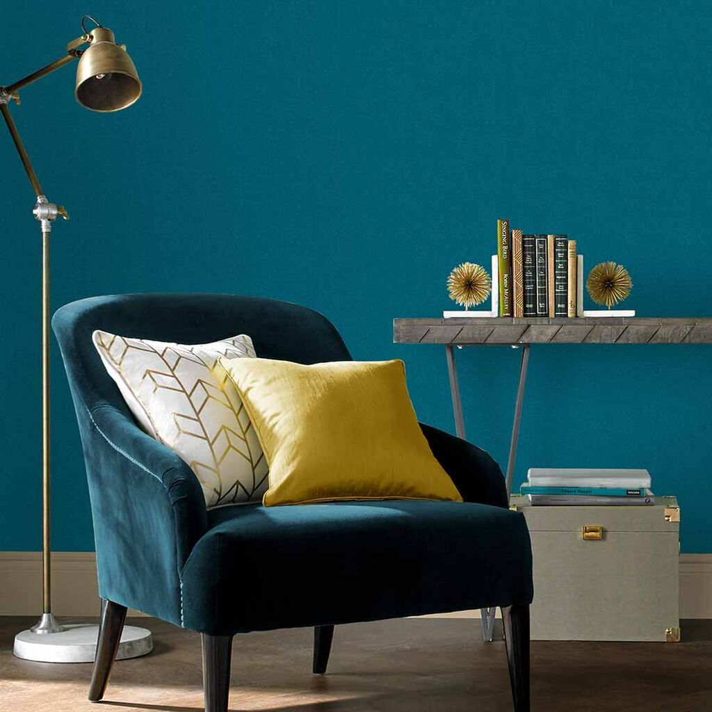 Graham & Brown Jewel Teal Plain Wallpaper Teal living