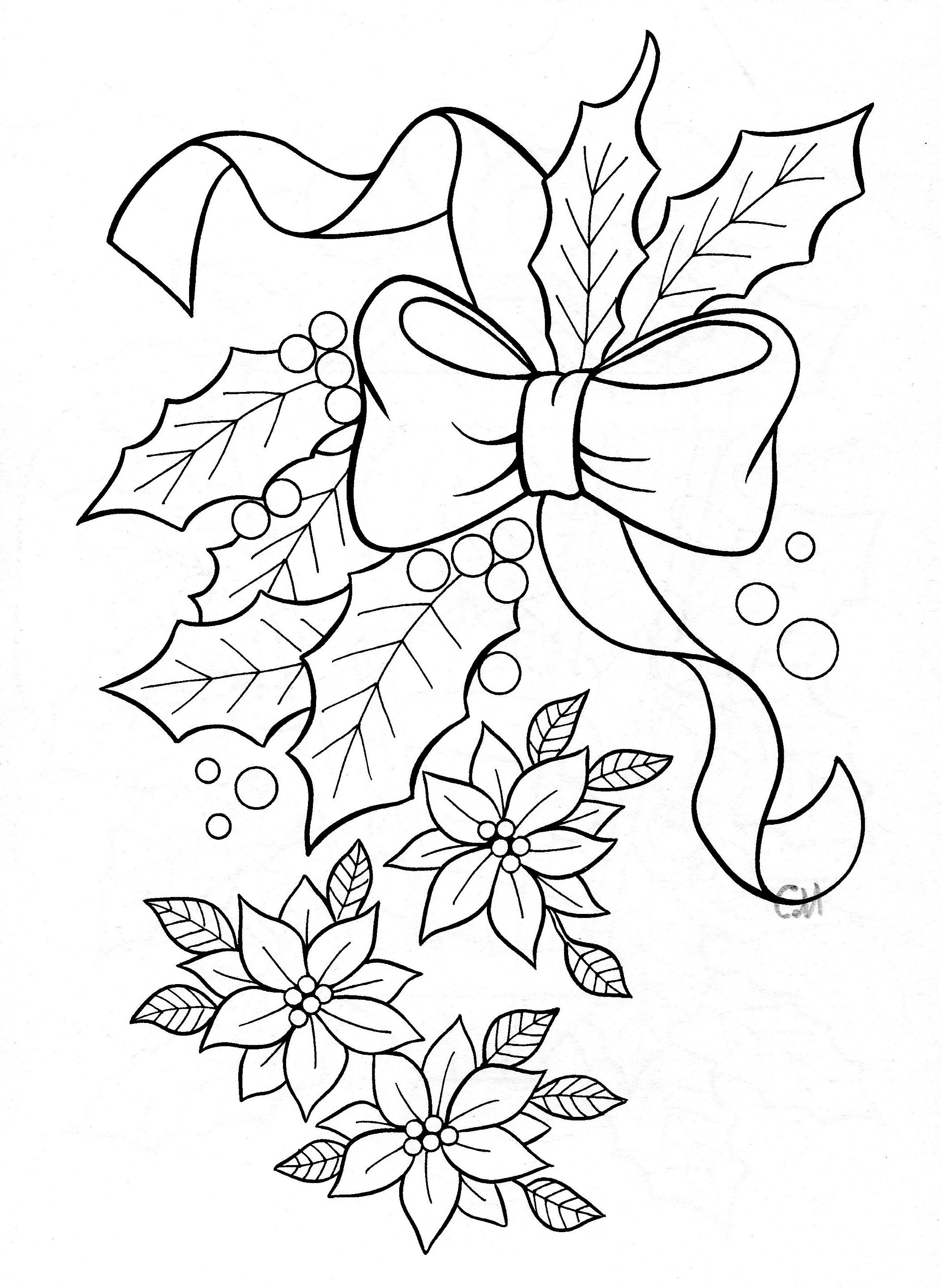 Holly And Poinsettia Coloring Page