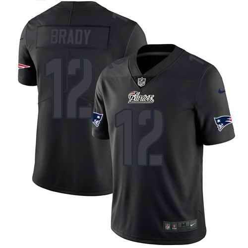 best service 3199e 56a1b Nike New England Patriots #12 Tom Brady Black Men's Stitched ...