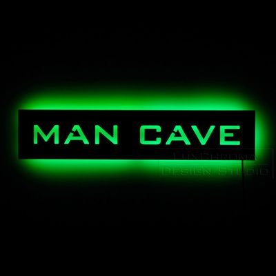 Lighted Man Cave Sign For Wall Hanging Bright Led Backlit Sign