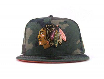 00af036e34f CHICAGO BLACKHAWKS NEW ERA FITTED HATS (CAMO ORANGE UNDER BRIM ...