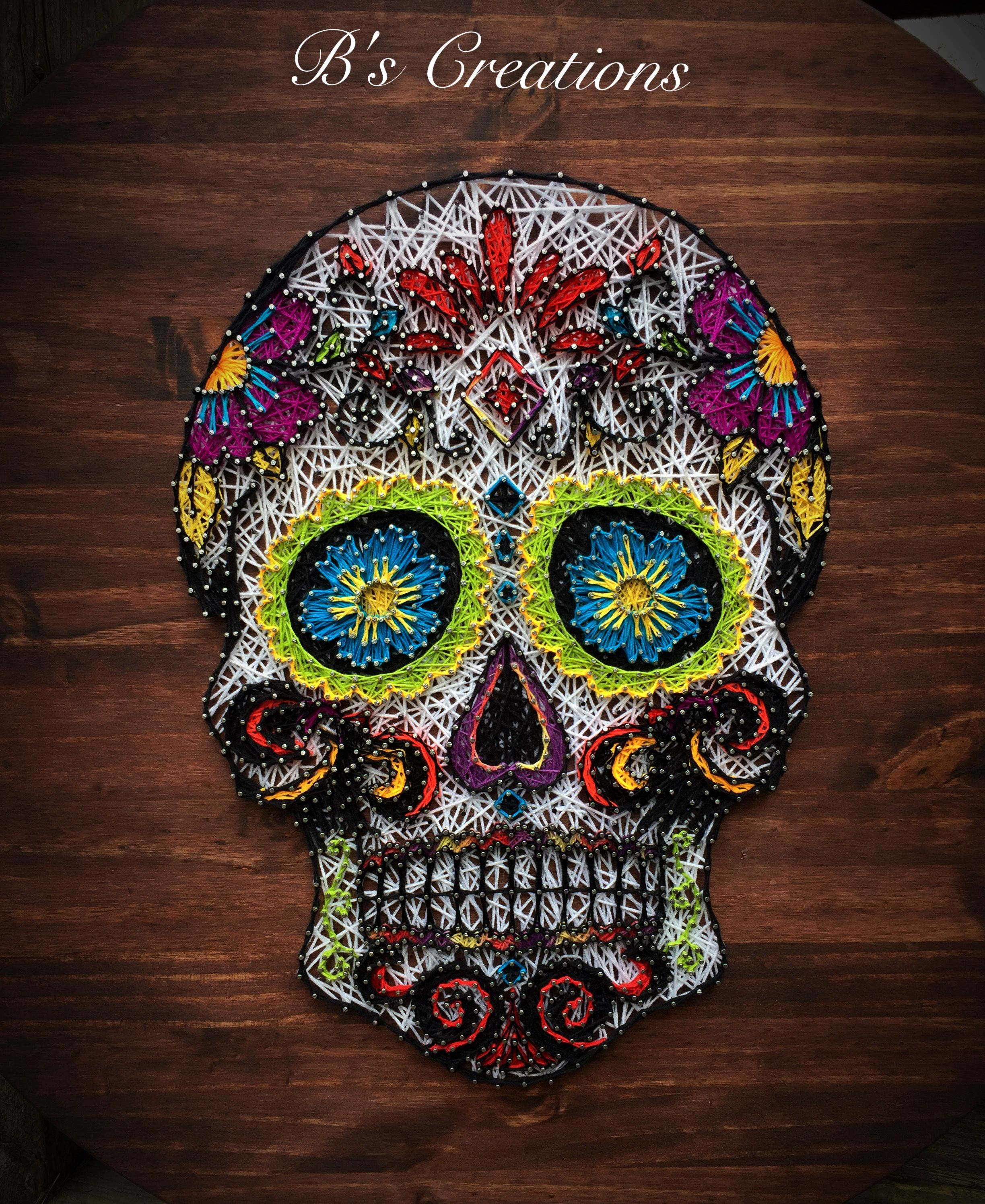 string art skull string art pinterest clous id e cadre et fil tendu. Black Bedroom Furniture Sets. Home Design Ideas