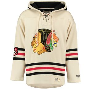 Chicago Blackhawks Old Time Hockey Lacer Heavyweight Pullover Hoodie - Natural