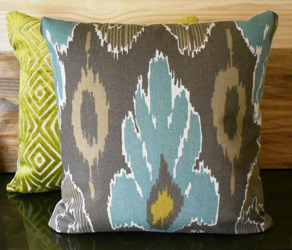 Ikat Decorative Pillow Cover Spa Teal Blue Brown And Grey Throw Pillow Decorative Pillow