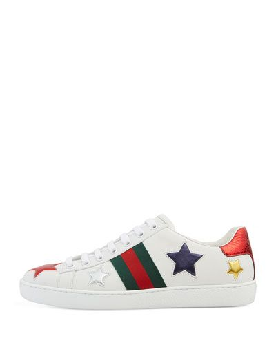 X3D16 Gucci New Ace Star Leather Sneaker, White