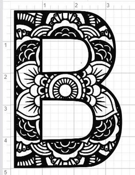 mandala alphabet letter b design svg pdf eps dxf studio 3 cut files products sobres de papel. Black Bedroom Furniture Sets. Home Design Ideas