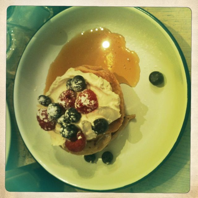 Blueberry pancakes at Breakfast Company, Angel