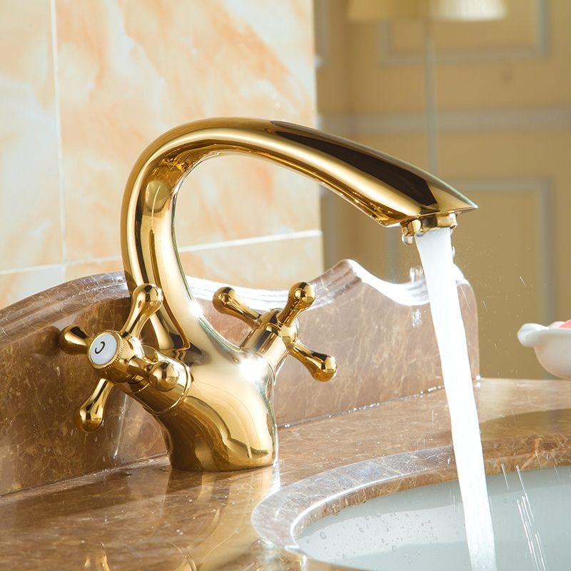 Nordic style golden faucet full copper antique bathroom faucet basin ...