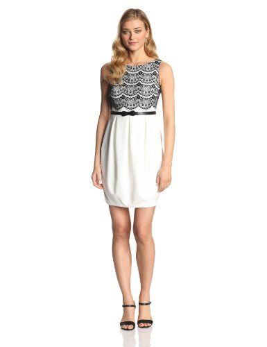 Jax Women's Sleeveless Tier Lace Dress, Ivory/Black, 4 -  Click image twice to see more info -  see a larger selection of lace dress at  http://azdresses.com/category/dress-categories/dresses-by-type/lace-dress/  - women, womens fashion, dresses, dress, waer to work , gift ideas« AZdresses.com