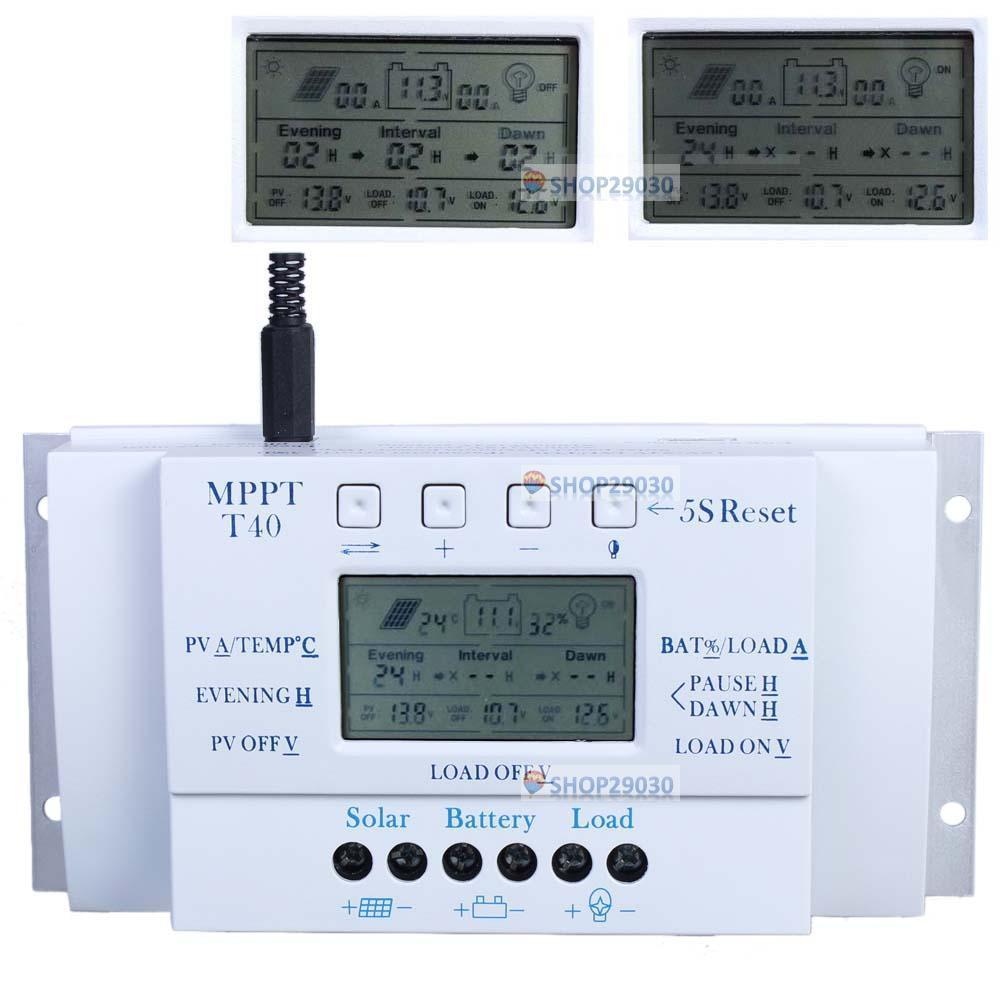 Lcd 20 30 40a 12v 24v Mppt Solar Panel Regulator Charge Controller 3 Circuit Breaker Timer Ebay