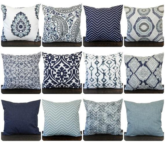 Indigo Blue Navy Gray White Pillow