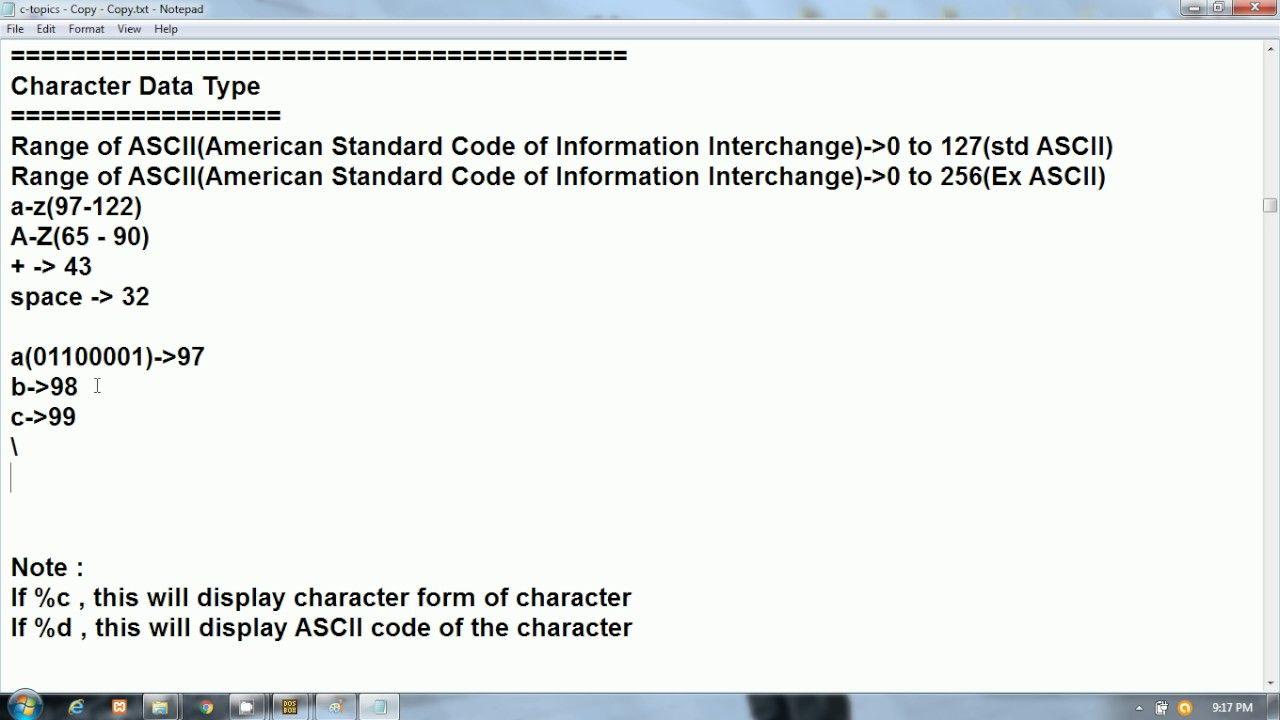 C Programming In Hindi Character Data Type And Ascii Codes C