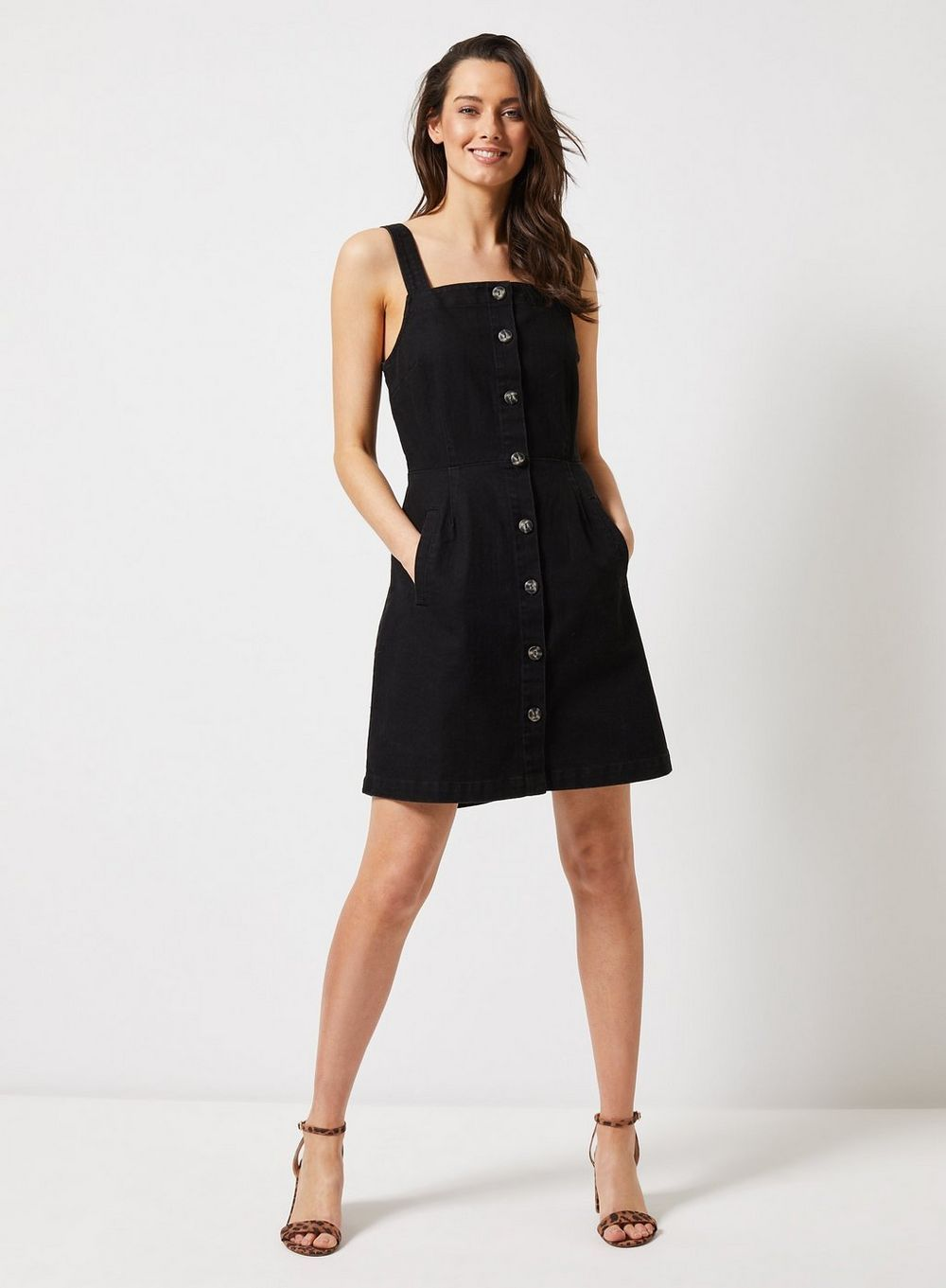 fe0529831c4 Black Denim Horn Button Pinafore Dress in 2019