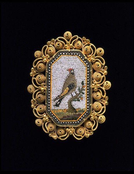 Micromosaic | micromosaic brooch 1820-30 | ::birds::