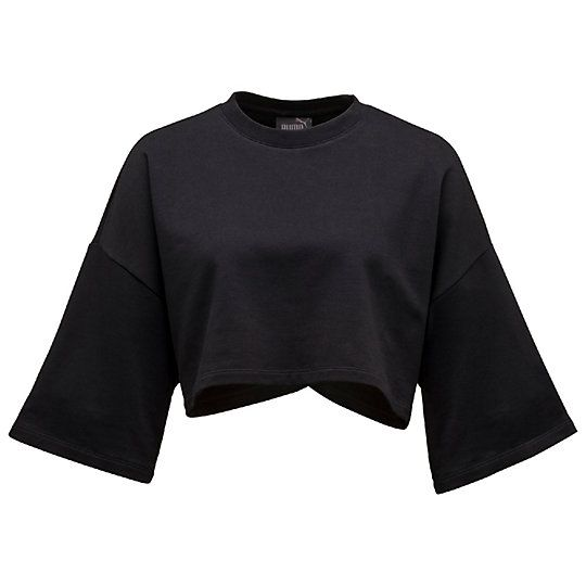 pretty nice b93ce 3a978 p>The stretch fleece Cropped Crew Neck T-Shirt from FENTY ...
