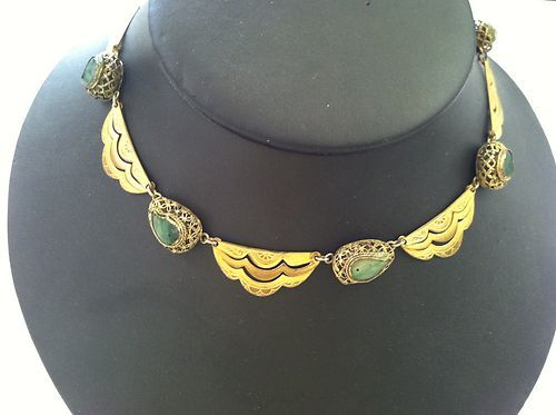 Hand Made Antique Art Deco Chinese Filigree Jade Brass Necklace Beautiful | eBay