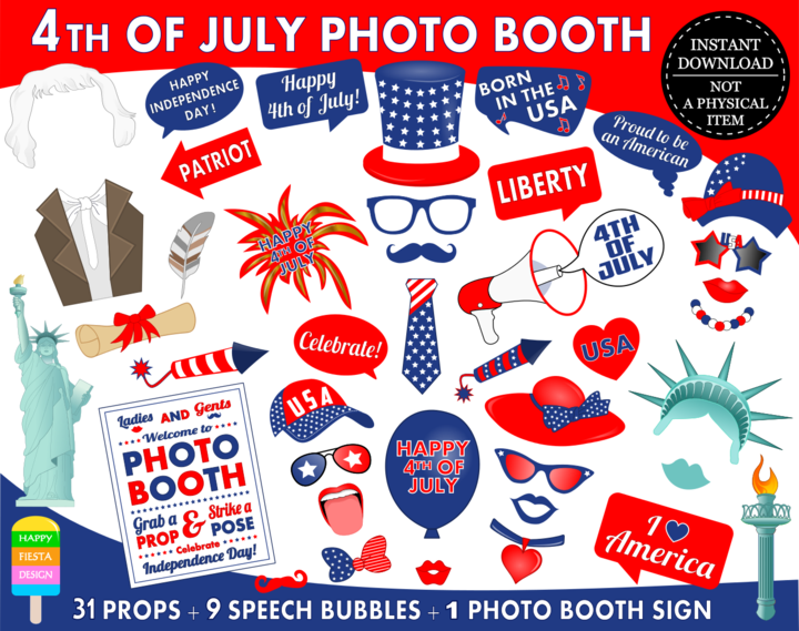 Printable 4th Of July Photo Booth Props Independence Day Photo