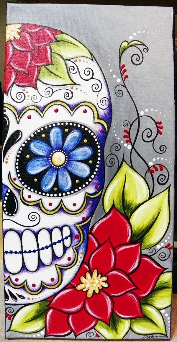 Painted Skull Ideas : painted, skull, ideas, Canvas, Painting, Ideas, Beginners, Skull, Painting,, Sugar