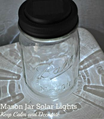Mason Jar Solar Lights I Bought Solar Lights From Dollar Tree The Solar Piece Fit Perfectly In The Screw Solar Mason Jars Mason Jar Solar Lights Mason Jars