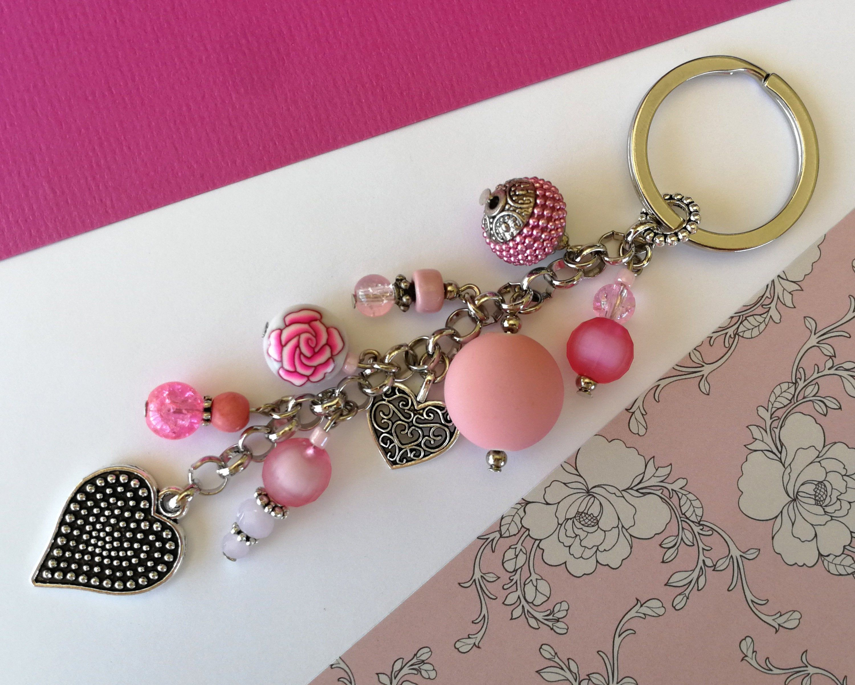 Red Heart Small Tassel Beads Keyring Jewelry Charm Keychain Bag Birthday Gift