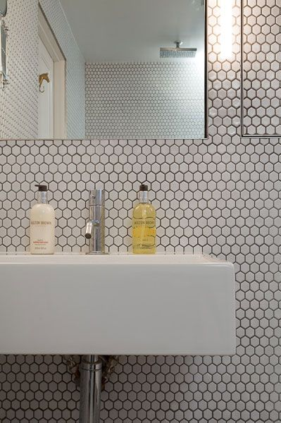 good idea to have detailed tiling near the sink - to avoid grouting lines  around shower. Yellow BathroomsTiles ...