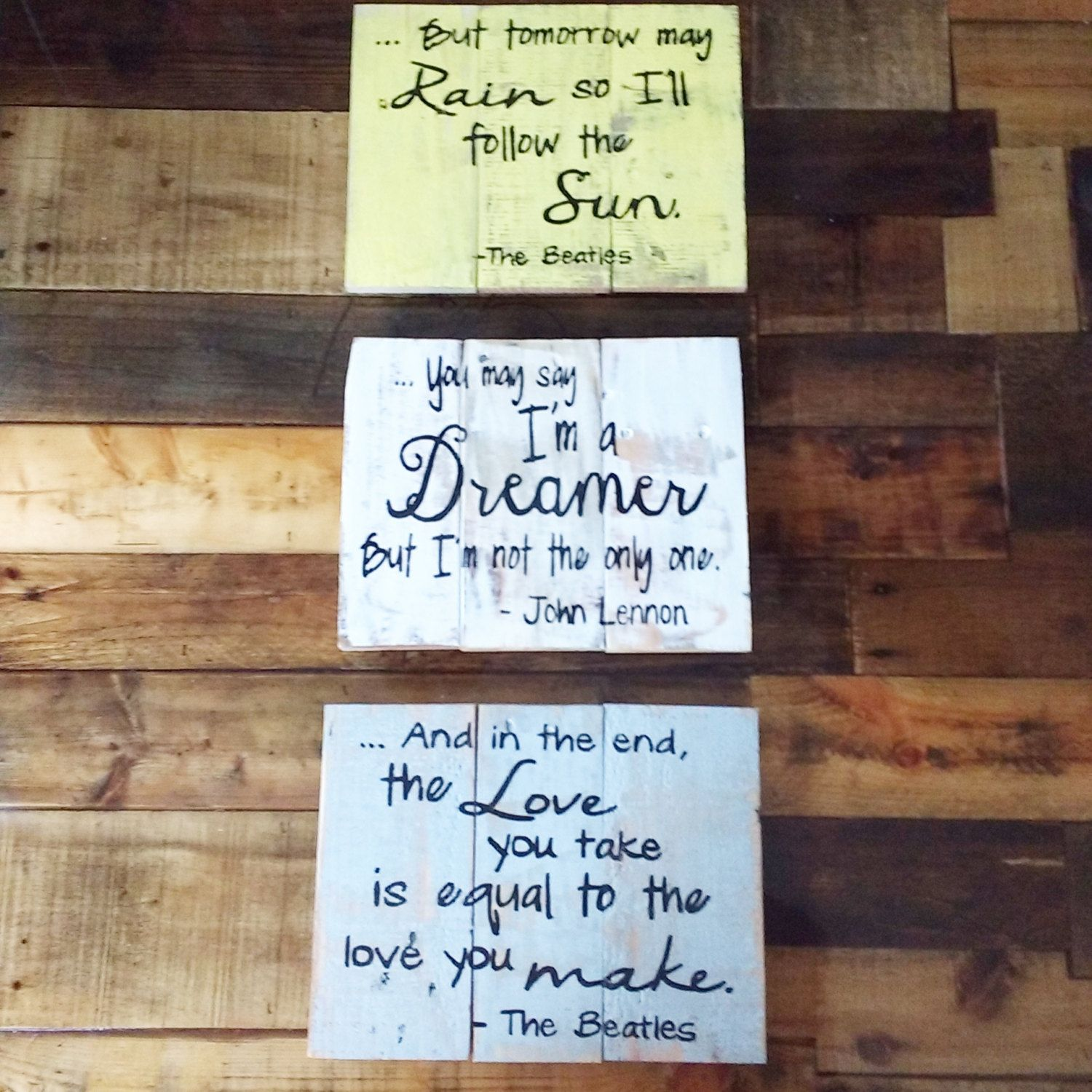 The Beatles Song Lyric Pallet Wall Decor Rustic Sign Home Art By Edisonavenue