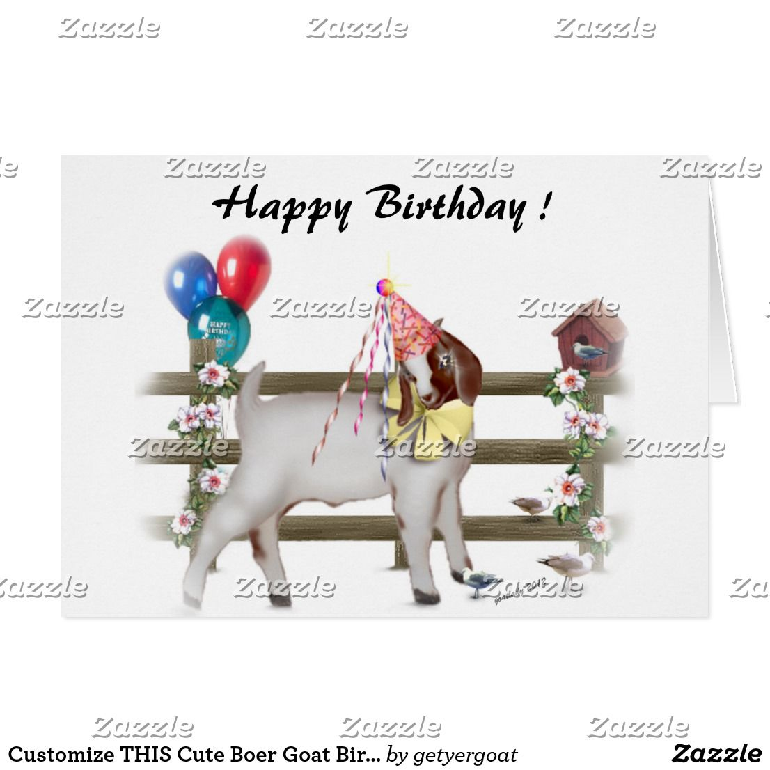 Customize THIS Cute Boer Goat Birthday Card goat boer birthday – Goat Birthday Card