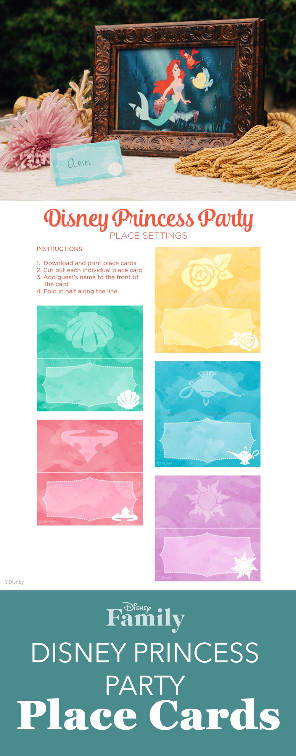 Disney Princess Party Place Cards Party Ideas Disney