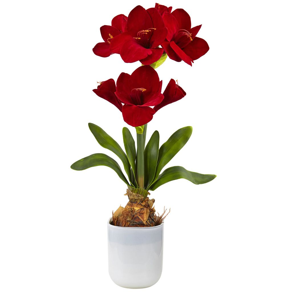 Nearly Natural Silk Amaryllis Floral Arrangement, Red