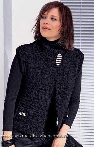 Теплый вязаный жилет спицами для женщин | Вязание для ...
