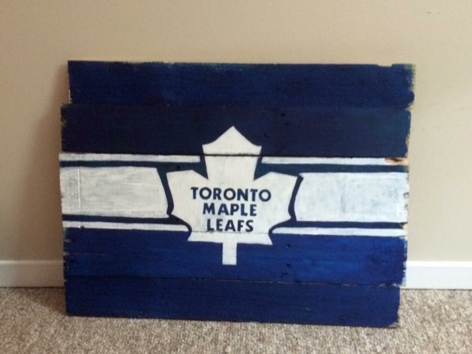 Man Cave Hockey Signs : Toronto maple leafs hockey logo painted wood sign for man cave