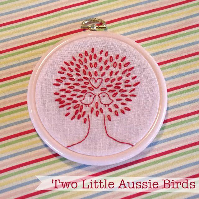 two little aussie birds: Free pattern: love birds embroidery ...