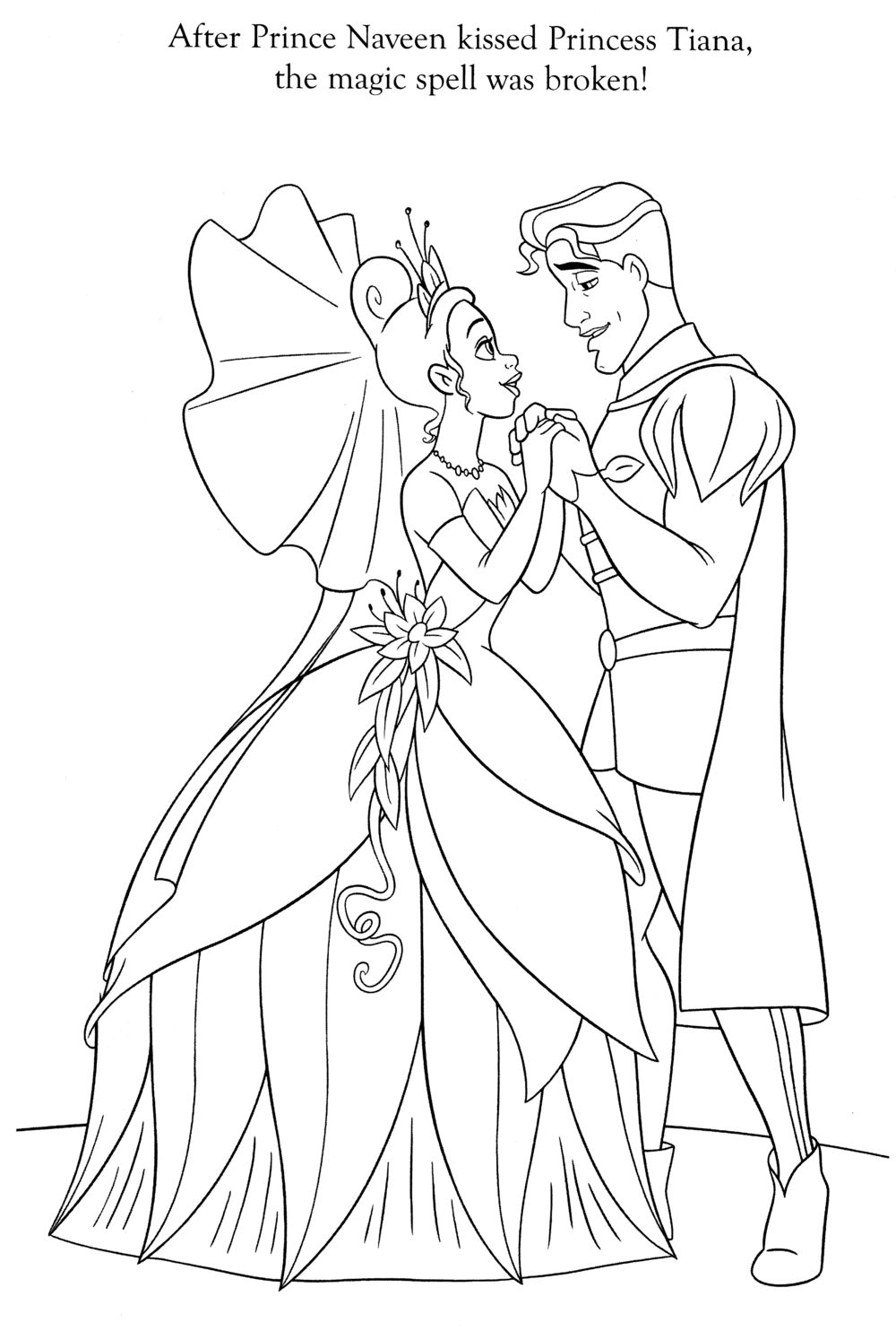 Fine Tiana And Naveen Coloring Pages Illustration - Professional ...