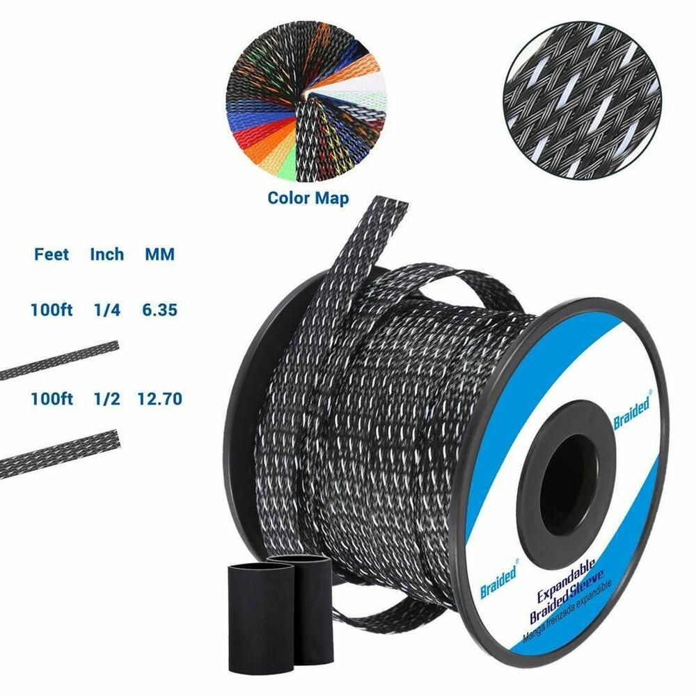 100ft 1 4 Inch Flexible Pet Expandable Braided Cable Sleeve Premium Wire New Braided In 2020 Wire Ebay Cable