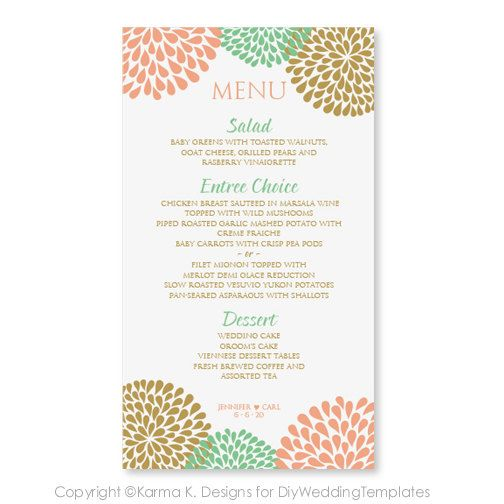 Wedding Menu Card Template - DOWNLOAD INSTANTLY - Edit Yourself - dinner party menu template