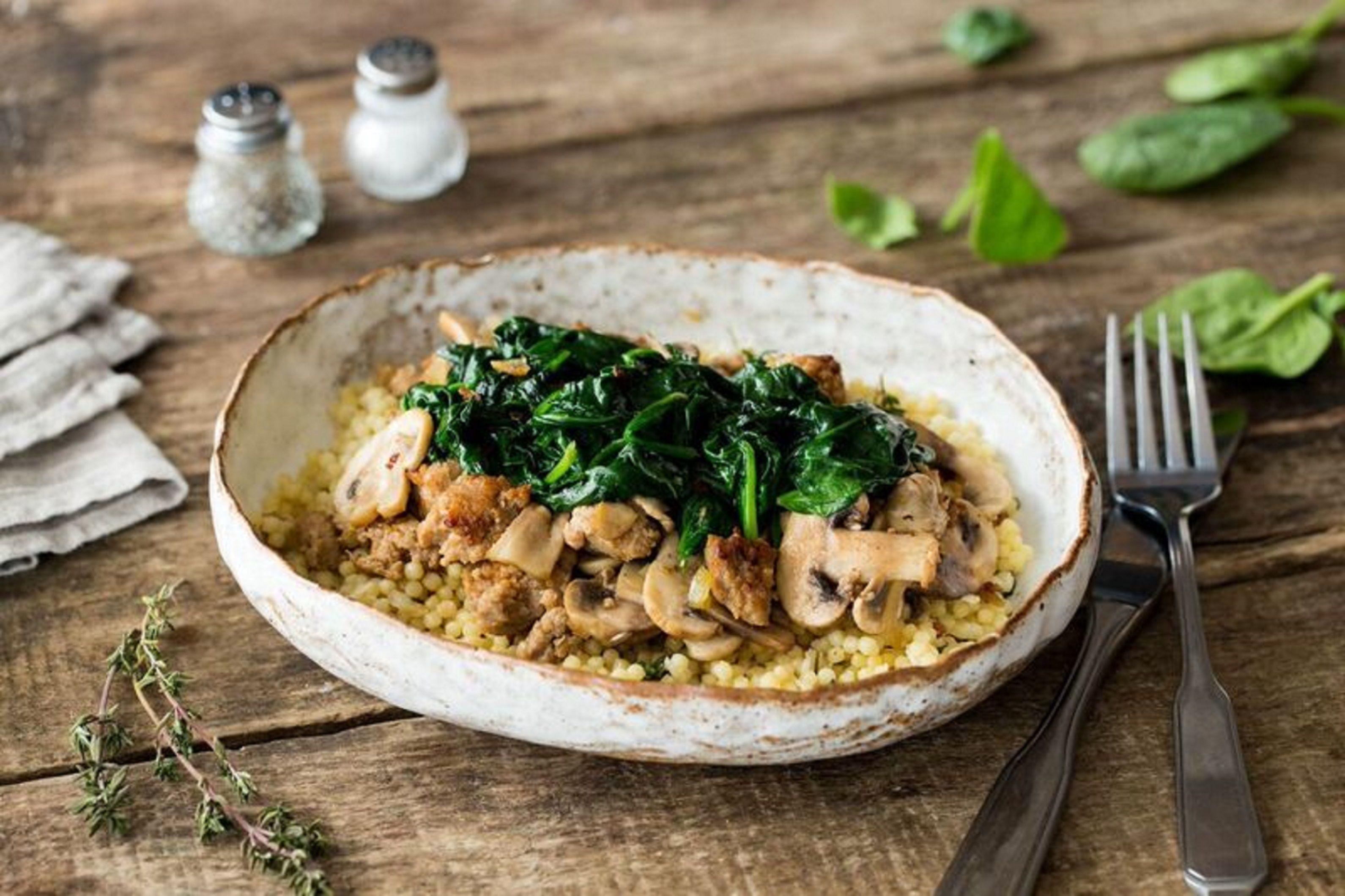 Fregola Sarda & Sweet Italian Sausage with Mushrooms, Wilted Spinach, and Parmesan Recipe | HelloFresh