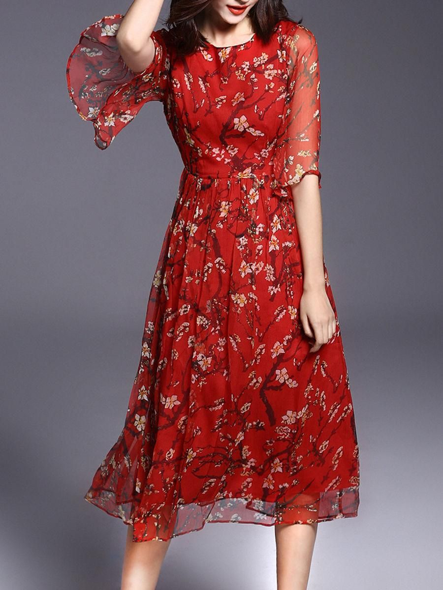 Round neck floral hollow out bell sleeve maxi dress boho mother of