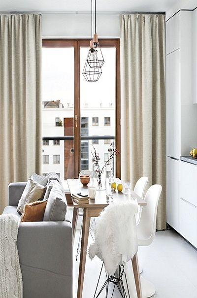 Blackout Drapes With Beige Small Apartment Interior Apartment