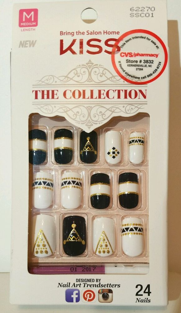 KISS 24 Glue On Nails THE COLLECTION Medium 62270 Black White & Gold ...